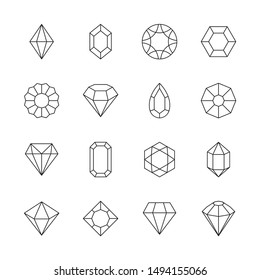 Diamond icon. Jewels outline symbols gems stones geometrical polygonal forms vector collection