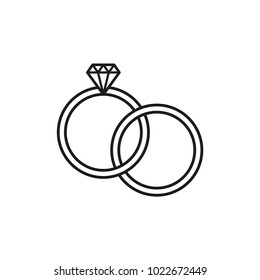 diamond icon, diamond ring vector icon