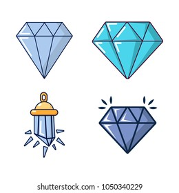 Diamond icon set. Cartoon set of diamond vector icons for web design isolated on white background