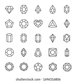 Diamond, icon set. Jewelry crystal gems of various shapes. Gemstones. linear icons. Line with editable stroke