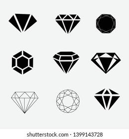Diamond Icon set - stock vector. - Vector
