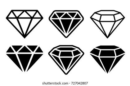 Diamond Icon set - stock vector.