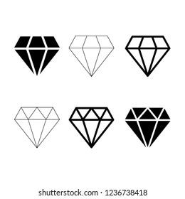 Diamond icon vector, brilliant symbol set