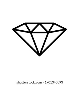 Diamond icon vector in outline style