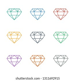 diamond icon white background. Editable line diamond icon from beauty. Trendy diamond icon for web and mobile.