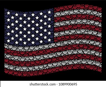 Diamond icons are composed into waving United States flag mosaic on a dark background. Vector composition of American state flag is made from diamond elements.