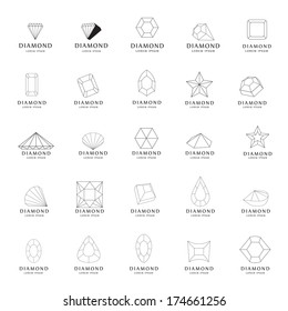 Diamond Icons Set - Isolated On White Background - Vector Illustration, Graphic Design Editable For Your Design