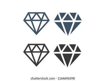 Diamond icons set. Diamond sign set vector