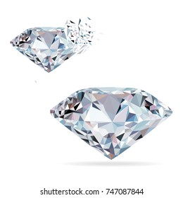 Diamond isolated on white photo-realistic illustration. Crystal. Chameleon brilliant. Sapphire, diamond logo, jewelry.