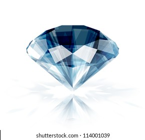 Diamond isolated on white -  realistic vector illustration