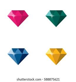 Diamond Jewelry Gem Colorful Polygon Logo White Background vector