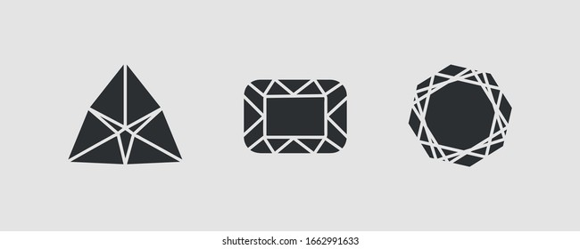 Diamond jewelry luxury quality gifts. A set of diamonds in a flat style isolated on white background. Abstract black gems vector image collection. EPS 10.
