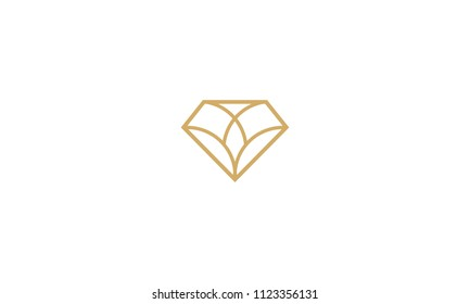 diamond line art geometry logo icon vector