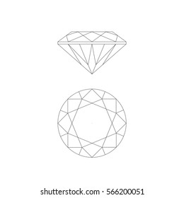 Diamond line drawing on white background