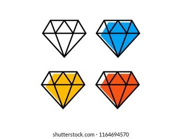Diamond line icon. Diamond outline vector sign