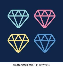 Diamond line icon. Diamond outline vector sign. Brilliant vector icon