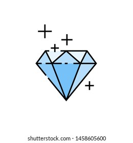 Diamond line icon. Precious gem stone symbol. Blue jewel sign. Vector illustration.