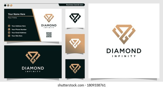 Diamond logo with infinity outline art style and business card design template Premium Vector