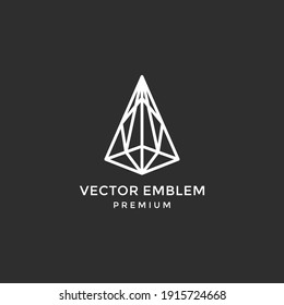 diamond logo line art illustration vector template premium quality on black background