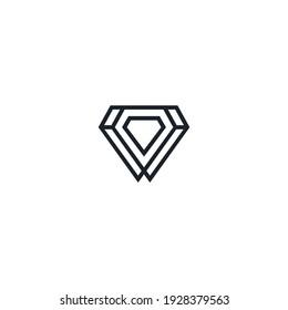 diamond logo line art illustration vector template