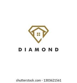 Diamond Logo Template, home/house icon, vector