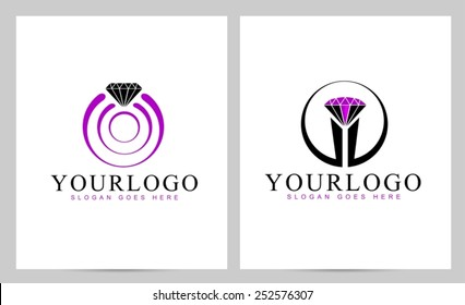 Diamond Logo Vector. Creative ring logo design with diamond stone on top