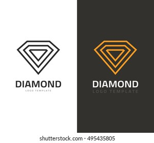 Diamond logo vector illustration isolated on white and dark background, jewel icons flat outline line style, concept of jewelry brand sign, geometric creative jewellery symbol