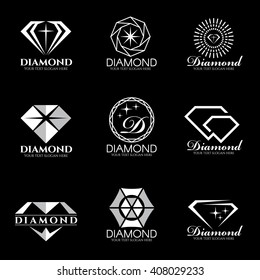 Diamond logo vector set and isolate on black background