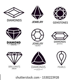 Diamond logos. Jewels diamonds gems, jewelry diamantes luxury jewel gemstones and brilliant. Crystal jewellery gems vector emblems