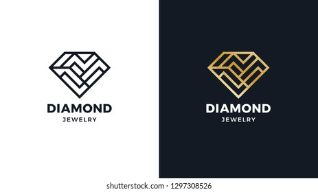 Diamond Logotype template, positive and negative variant, corporate identity for brands, exclusive product logo, gold texture, vector design