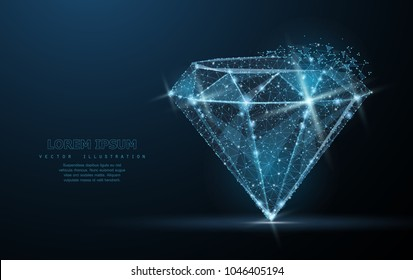 Diamond. Low poly wireframe mesh with crumbled edge and looks like constellation on blue night sky with dots and stars. Jewelry, gem, luxury and rich symbol, illustration or background