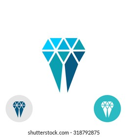 Diamond molar simple logo. Triangle particles style sign.
