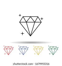 Diamond multi color icon. Simple thin line, outline vector of jewelry icons for ui and ux, website or mobile application