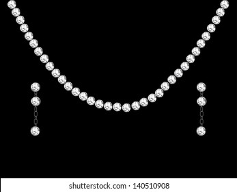 Diamond necklace and earrings - vector illustration