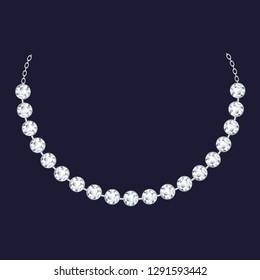 Diamond necklace icon. Realistic illustration of diamond necklace vector icon for web design