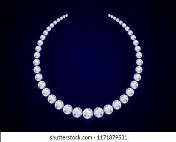 diamond necklace on dark background. realistic style. vector illustration.