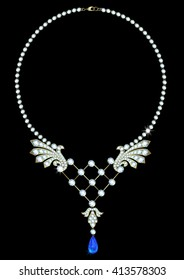 Diamond necklace with a pendant of sapphire on a black background
