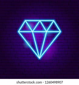 Diamond Neon Sign. Vector Illustration of Fashion Promotion.