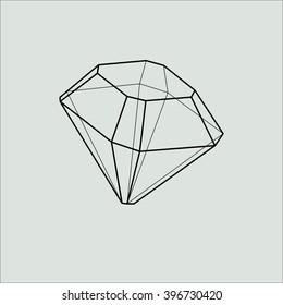 Diamond. Old single cut. Crystal. Hand drawn line art polygonal shape. Minimal abstract shape. Sacred geometry. Stock vector.