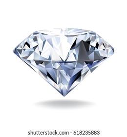 Diamond on white background. Realistic vector illustration.