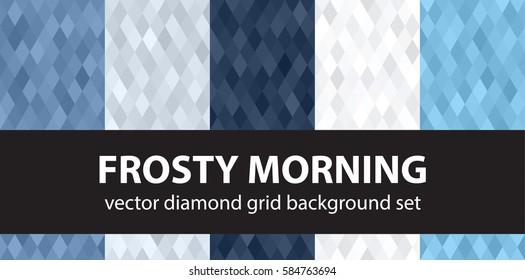 "Diamond pattern set ""Frosty Morning"". Vector seamless geometric backgrounds"
