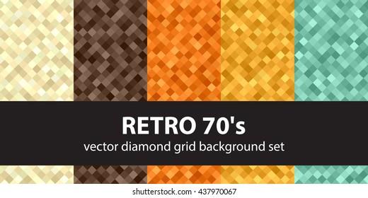 "Diamond pattern set ""Retro 70's"". Vector seamless geometric backgrounds"