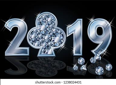 Diamond poker club Happy New 2019 Year, vector illustration