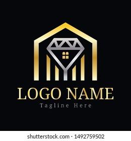 Diamond residential logo design template