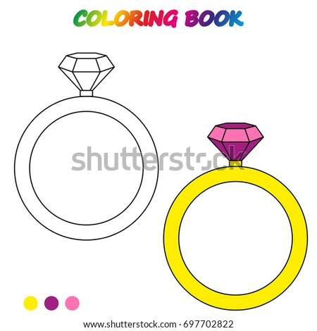 Diamond Ring Coloring Book Coloring Page Stock Vector Royalty Free
