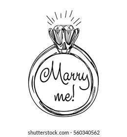 Diamond ring. Hand drawn vector template.