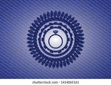diamond ring icon with denim texture