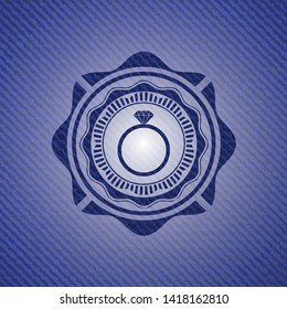 diamond ring icon inside denim background