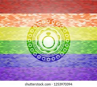 diamond ring icon inside lgbt colors emblem