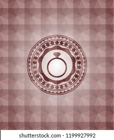 diamond ring icon inside red emblem or badge with abstract geometric pattern background. Seamless.